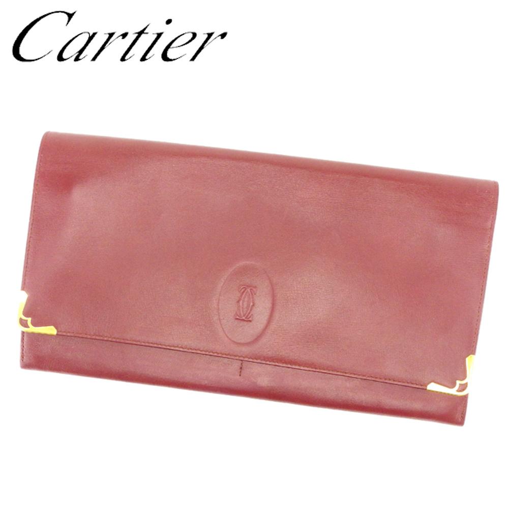 【中古】 カルティエ Cartier クラッチバッグ セカンドバッグ レディース メンズ 可 マストライン ボルドー ゴールド レザー 人気 セール T6960