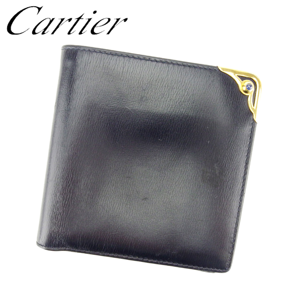 【中古】 カルティエ Cartier 二つ折り 財布 レディース メンズ 可 サファイアライン ブラック ゴールド ブルー レザー 人気 セール T6985 .