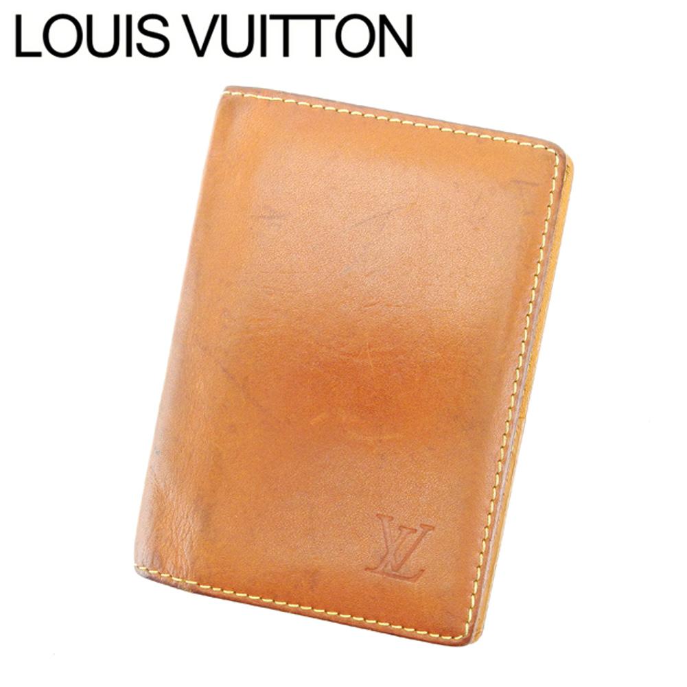 【中古】 ルイ ヴィトン Louis Vuitton カードケース 名刺入れ メンズ可 オーガナイザードゥポッシュ ノマド ライトブラウン ノマドレザー 人気 セール T6999 .