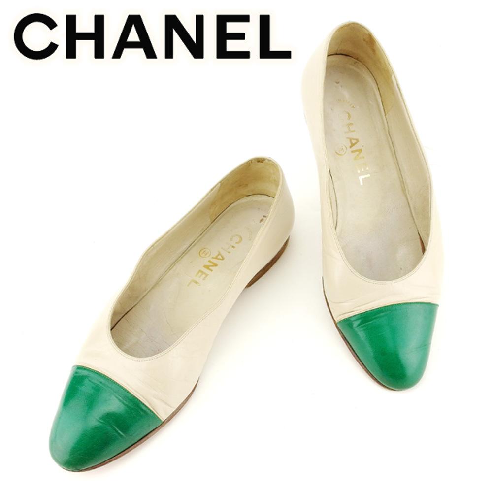 f6c558b1fc2c 【中古】 シャネル CHANEL パンプス シューズ 靴 レディース ♯36 ラウンドトゥ バイカラー ベージュ
