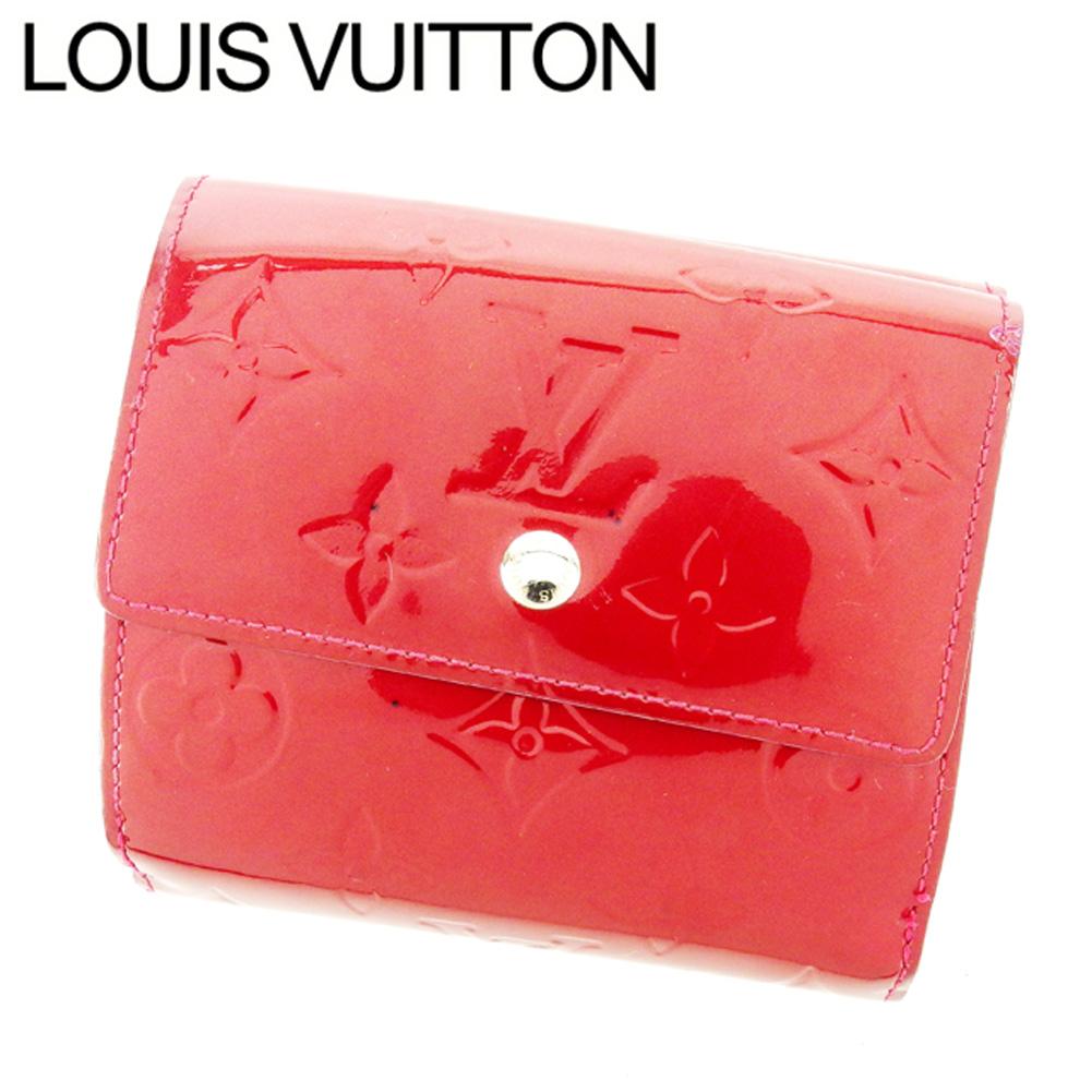 【中古】 ルイ ヴィトン Louis Vuitton Wホック 財布 三つ折り レディース ポルトフォイユエリーズ ヴェルニ レッド パテントレザー 人気 セール T7032 .