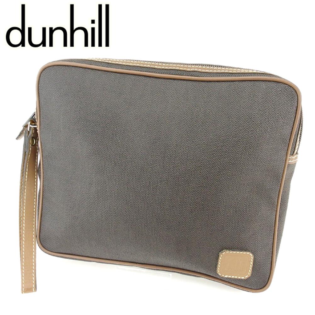 【中古】 ダンヒル dunhill クラッチバッグ セカンドバッグ メンズ ヘリンボーン ブラック ブラウン ゴールド PVC×レザー 人気 セール T7035 .