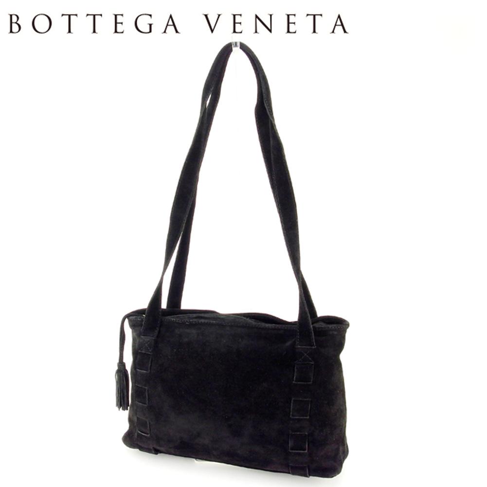 【中古】 ボッテガ ヴェネタ BOTTEGA VENETA ショルダーバッグ トートバッグ トート レディース メンズ 可 タッセル付き ブラック ゴールド スエード 人気 セール T7041 .