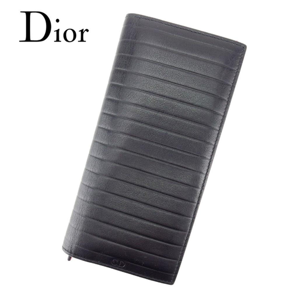 【中古】 ディオール オム Dior Homme 長財布 財布 ファスナー付き メンズ CDロゴ プリッセ ブラック レッド レザー 美品 セール T7055 .