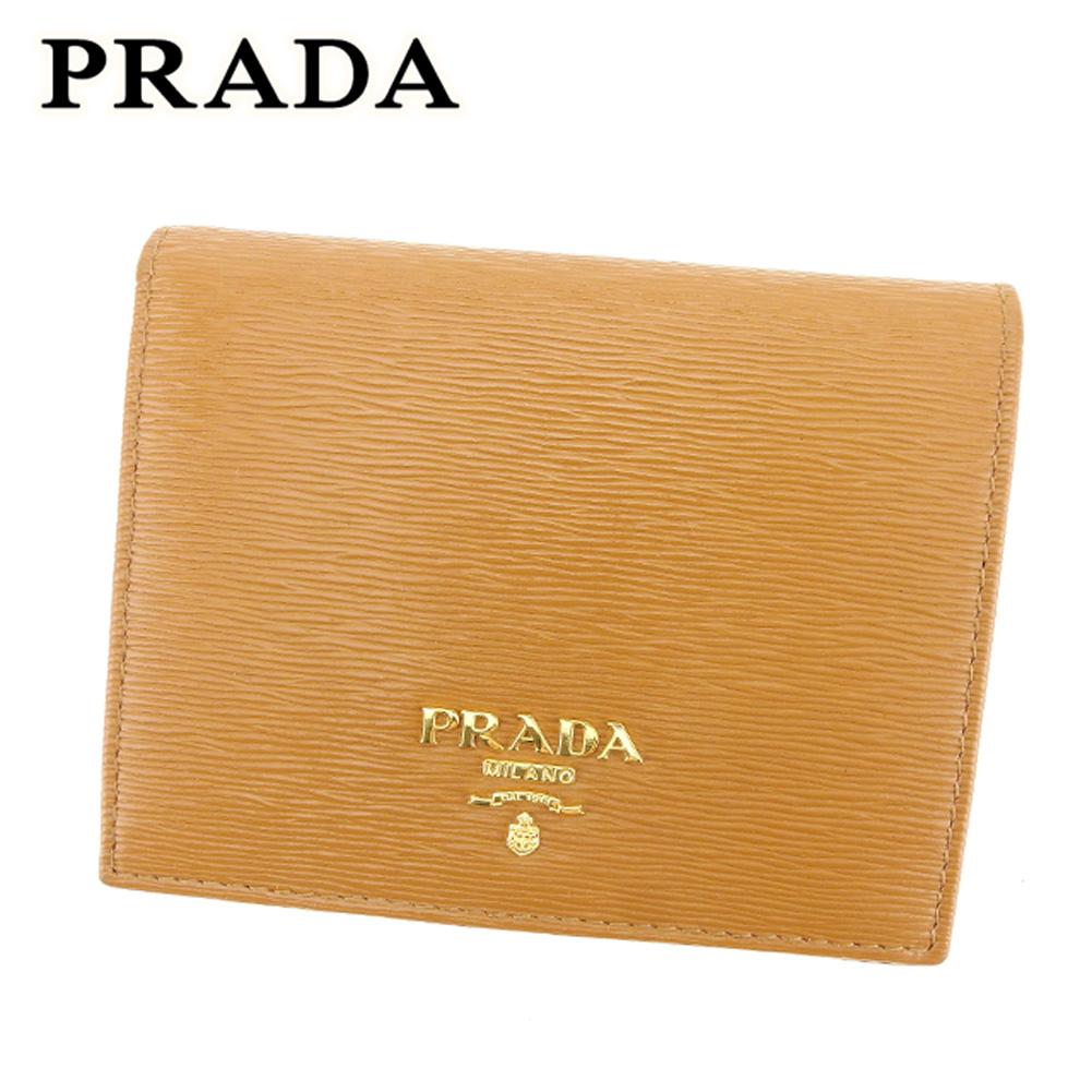 【中古】 プラダ PRADA 二つ折り 財布 レディース メンズ 可 ロゴ ライトブラウン ゴールド ブラウン サフィアーノレザー 美品 セール T7058 .