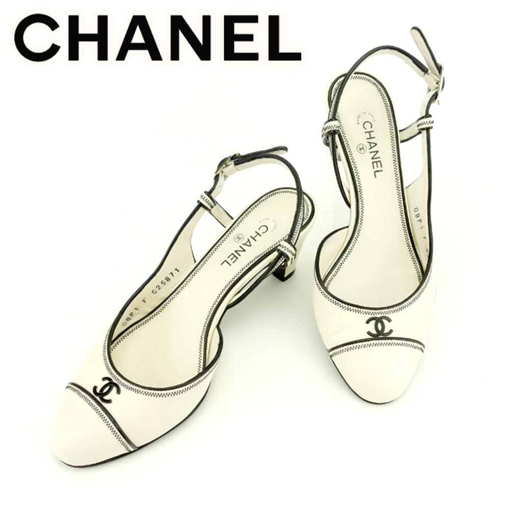【中古】 シャネル CHANEL パンプス シューズ 靴 レディース ♯35C バックストラップ ココマーク ホワイト 白 ブラック シルバー レザー 良品 セール T7059