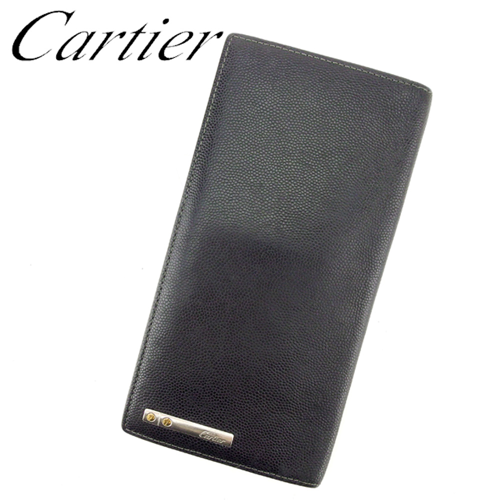 【中古】 カルティエ Cartier 長札入れ 札入れ メンズ サントス ブラック シルバー ゴールド キャビアグレインカウハイド レザー 人気 セール T7084