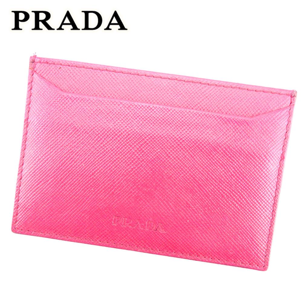 【中古】 プラダ PRADA カードケース パスケース レディース ロゴ ピンク サフィアーノレザー 人気 セール T7092