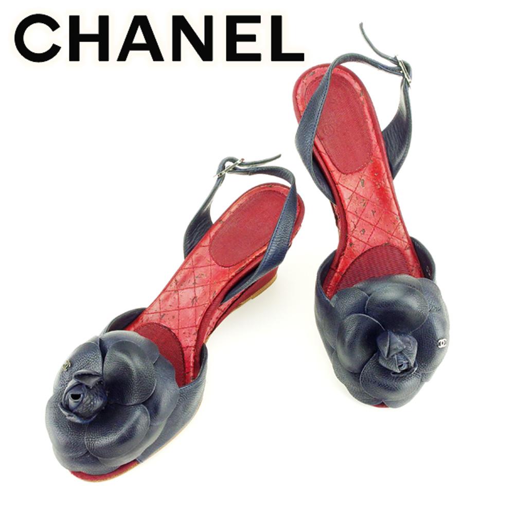 【中古】 シャネル CHANEL サンダル シューズ 靴 レディース カメリア ネイビー レッド シルバー レザー×キャンバスサンダル T7096s .