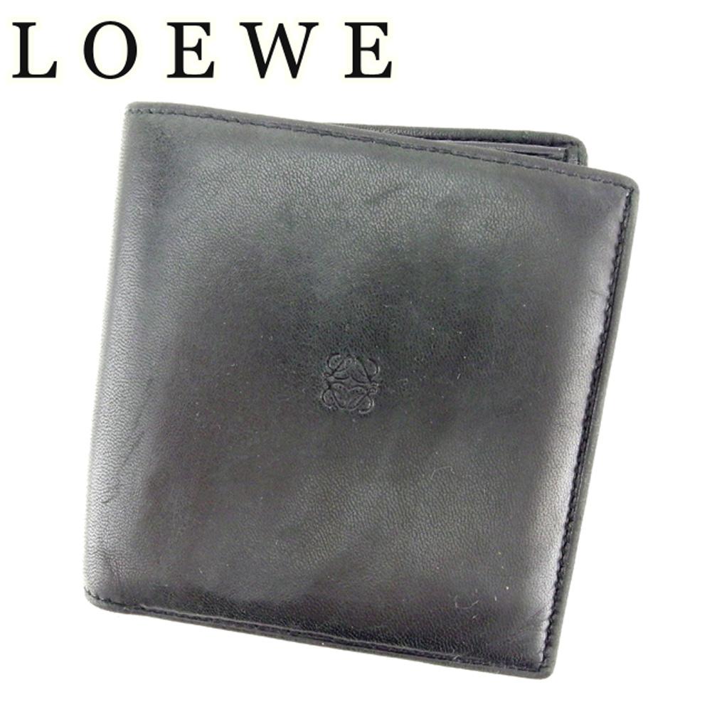 a3d4bfc66249 【中古】 ロエベ LOEWE 二つ折り 財布 メンズ アナグラム ブラック ラムレザー 人気 セール T7140 .