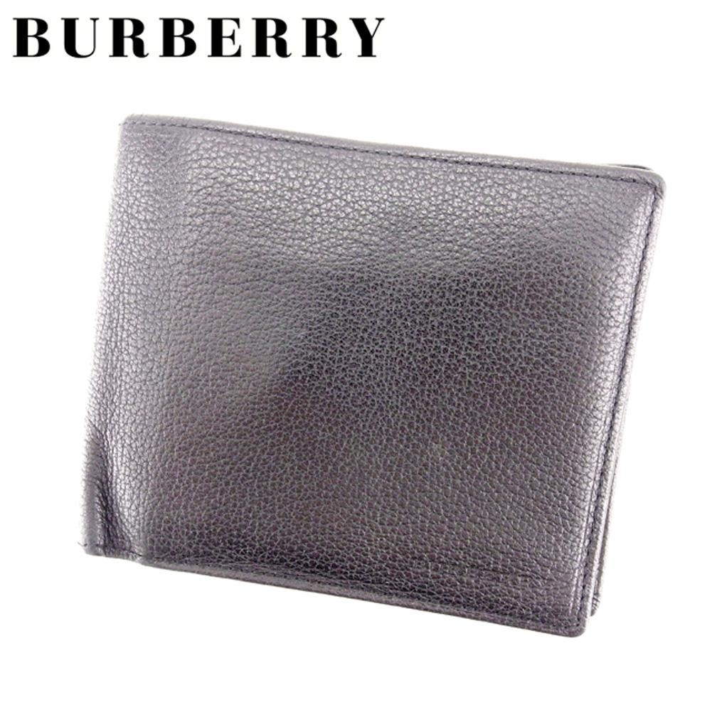 【中古】 バーバリー BURBERRY 二つ折り 財布 メンズ ロゴ ブラック レザー 人気 セール T7142 .