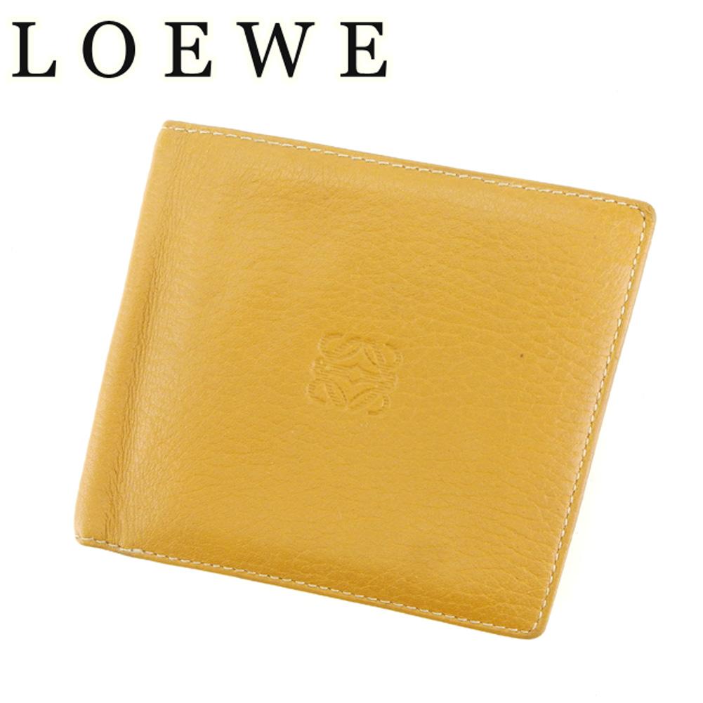 【中古】 ロエベ LOEWE 二つ折り 財布 メンズ アナグラム ベージュ ブラウン レザー 人気 セール T7144 .