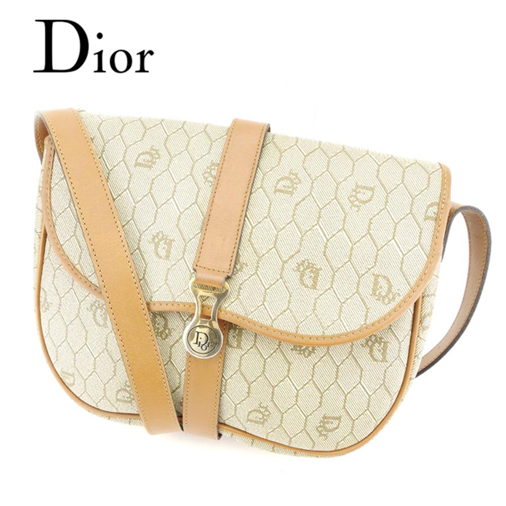 dc56afa05fb0 【中古】 ディオール Dior ショルダーバッグ 斜めがけショルダー レディース メンズ 可 ロゴ柄 ベージュ