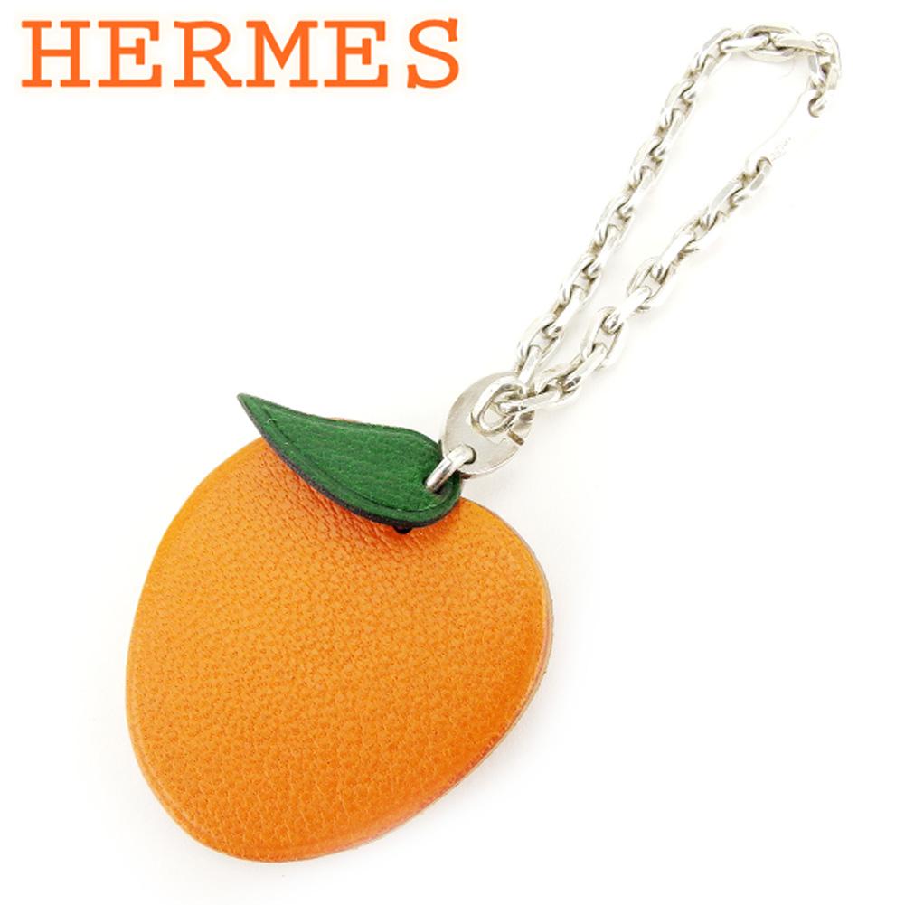 【中古】 エルメス HERMES キーホルダー キーリング レディース メンズ 可 フルーツモチーフ オレンジ レザー×シルバー素材 美品 セール T7162 .