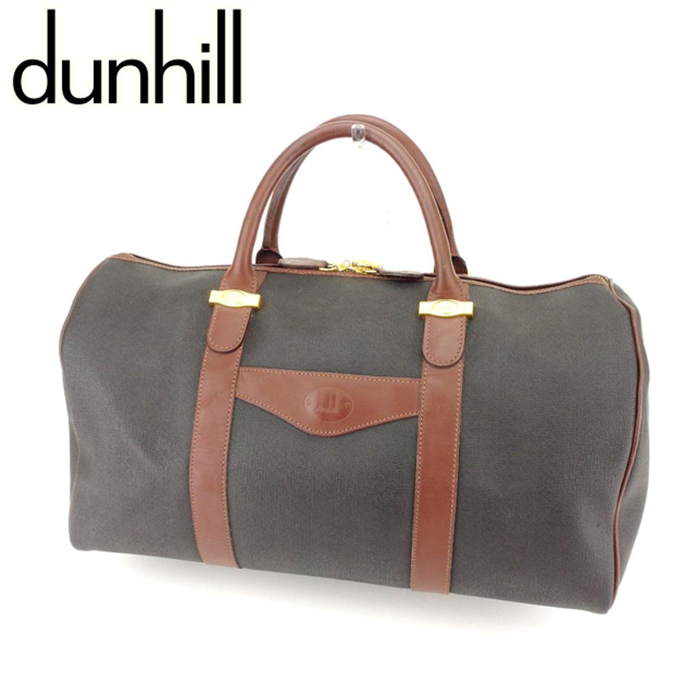 【中古】 ダンヒル dunhill ボストンバッグ 旅行用バッグ レディース メンズ 可 ブラウン ブラック キャンバス×レザー 人気 良品 T7172 .