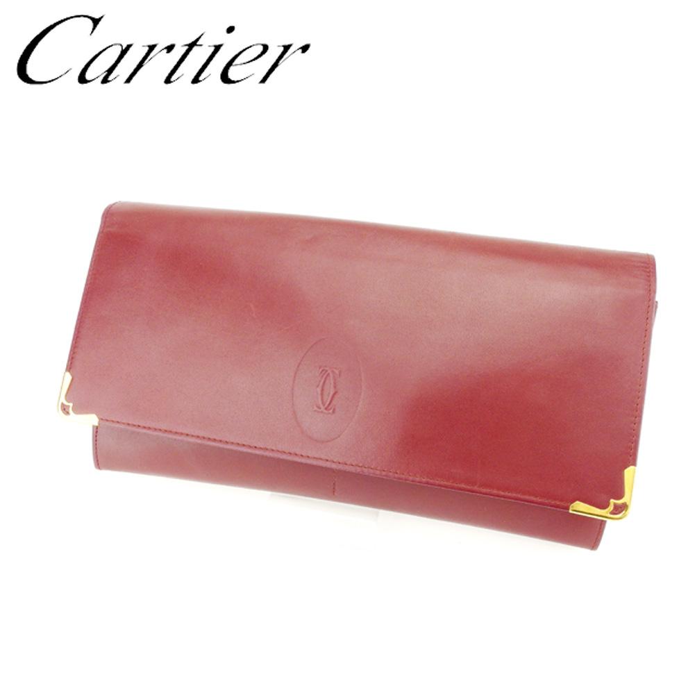 【中古】 カルティエ Cartier クラッチバッグ セカンドバッグ レディース メンズ 可 マストライン ボルドー レザー 人気 セール T7182 .