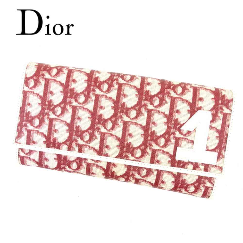 【中古】 ディオール Dior 長財布 ファスナー付き 長財布 レディース トロッター ボルドー ベージュ PVC×レザー 未使用品 セール C3193 .