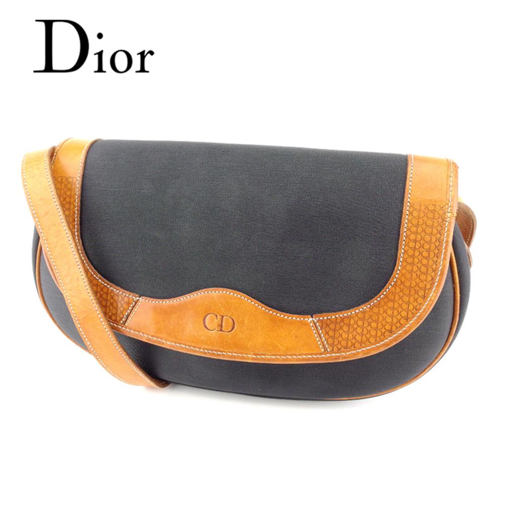【中古】 ディオール Dior ショルダーバッグ 斜めがけショルダー レディース ロゴマーク ブラック ブラウン PVC×レザー 人気 セール C3199 .