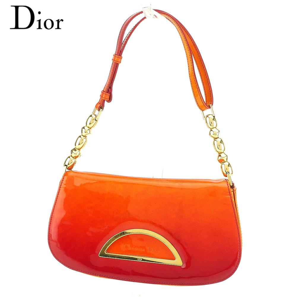 【中古】 ディオール Dior ハンドバッグ ワンショルダー レディース マリスパール オレンジ エナメルレザー 人気 セール S857 .