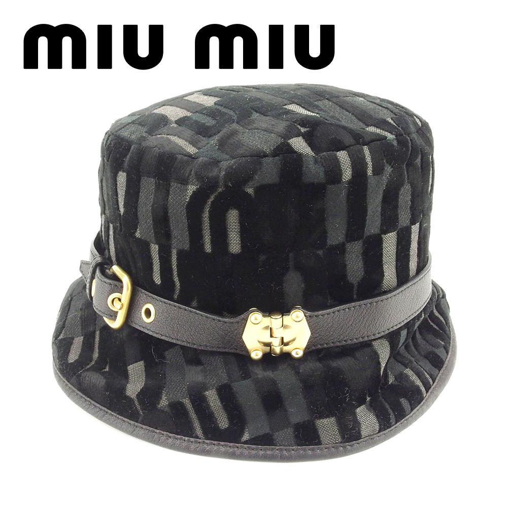 【中古】 ミュウミュウ miumiu 帽子 ハット レディース ロゴ ブラック 綿100% 人気 良品 T7225 .