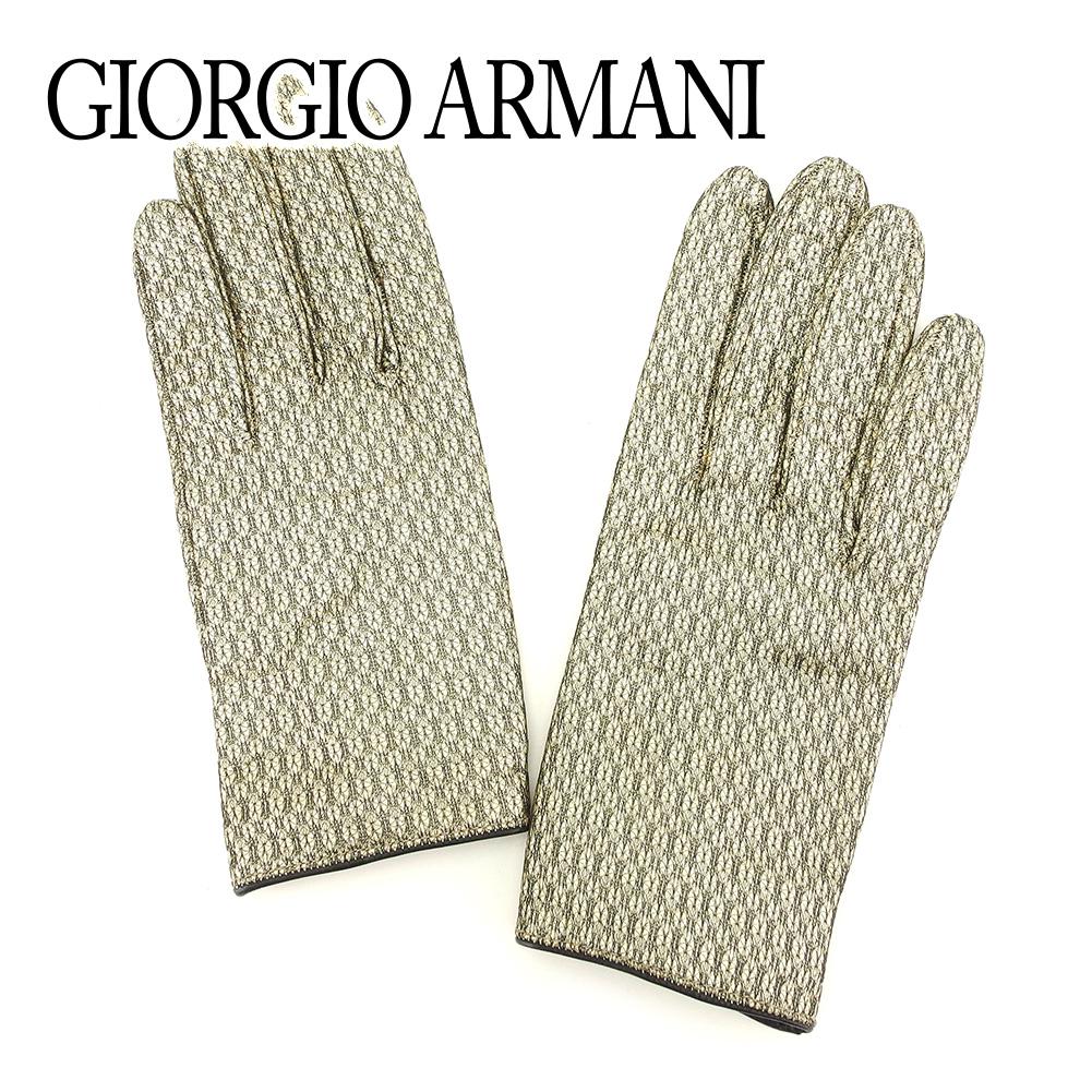 【中古】 ジョルジオ アルマーニ GIORGIO ARMANI 手袋 グローブ レディース ゴールド ブラック レザー 未使用品 セール T7226 .