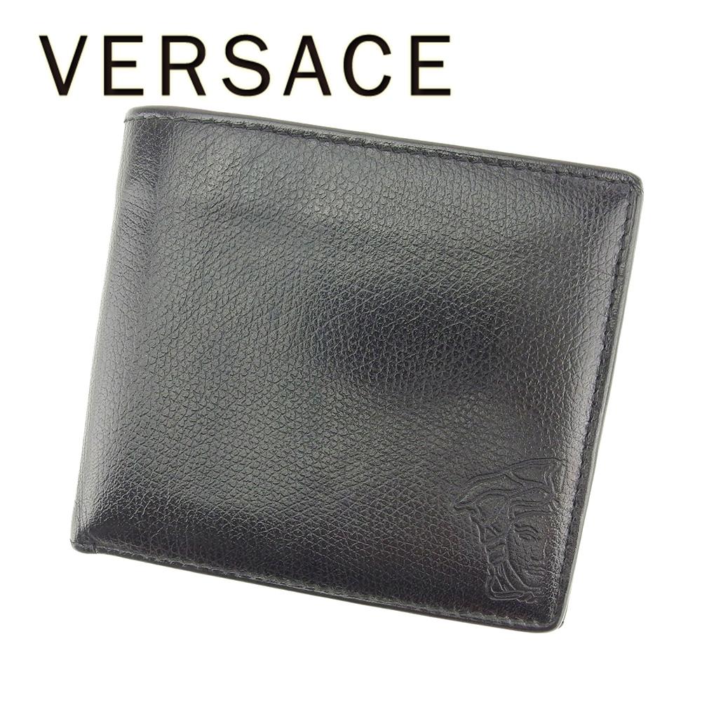 【中古】 ヴェルサーチ VERSACE 二つ折り 財布 レディース メンズ 可 メデューサ ブラック レザー 人気 セール T7232 .
