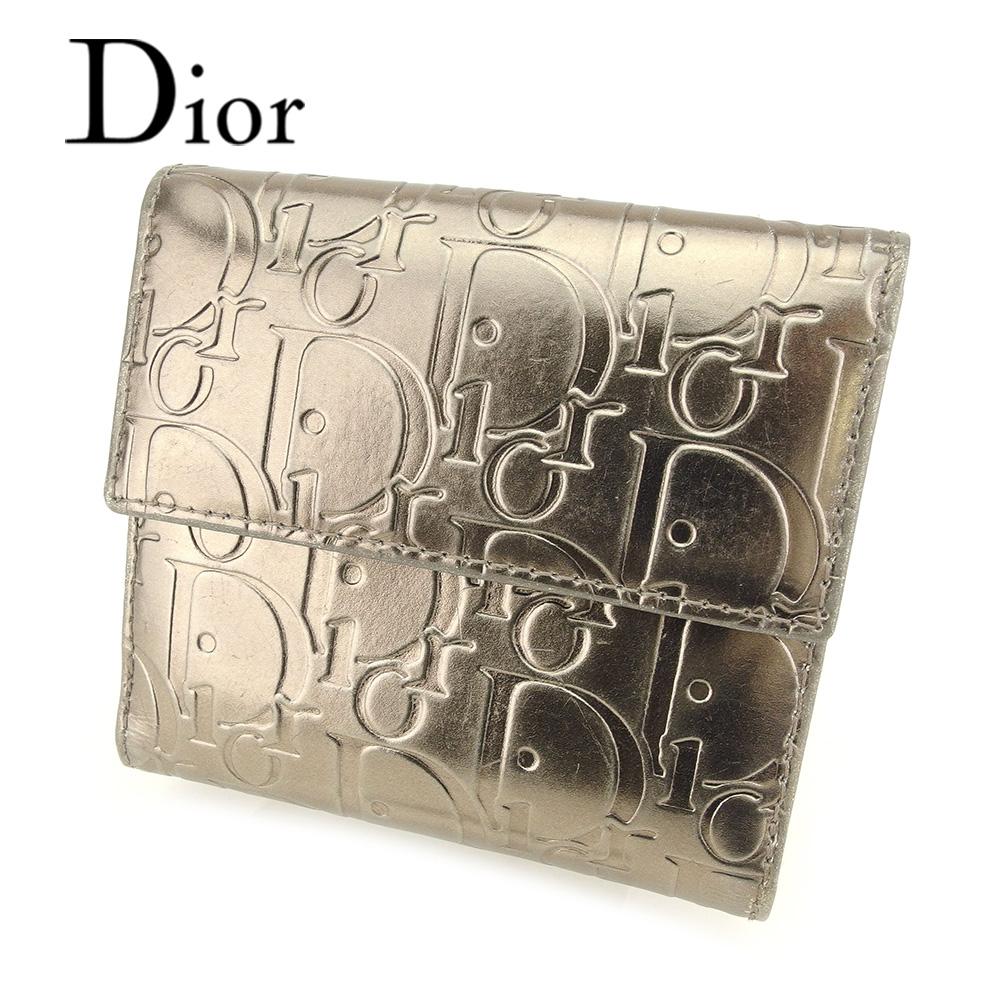 【中古】 ディオール Dior Wホック 財布 二つ折り 財布 レディース メンズ 可 トロッター ゴールド レザー 人気 セール T7235 .