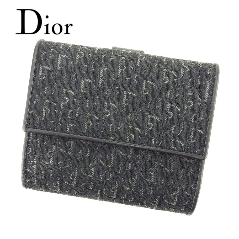 【中古】 ディオール Dior Wホック 財布 二つ折り 財布 レディース メンズ 可 トロッター ブラック キャンバス×レザー 美品 セール T7244 .