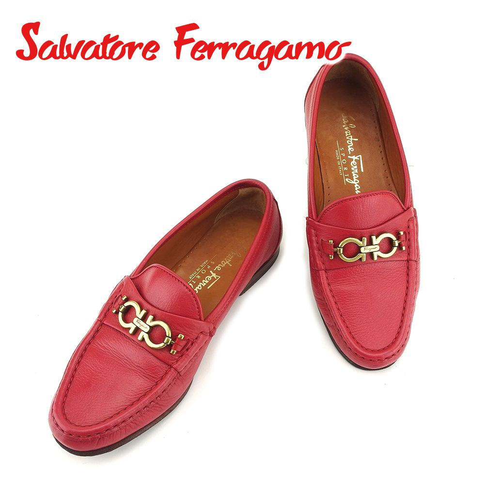 【中古】 サルヴァトーレ フェラガモ Salvatore Ferragamo ローファー シューズ 靴 レディース #6ハーフ ガンチーニ レッド 人気 セール T7245