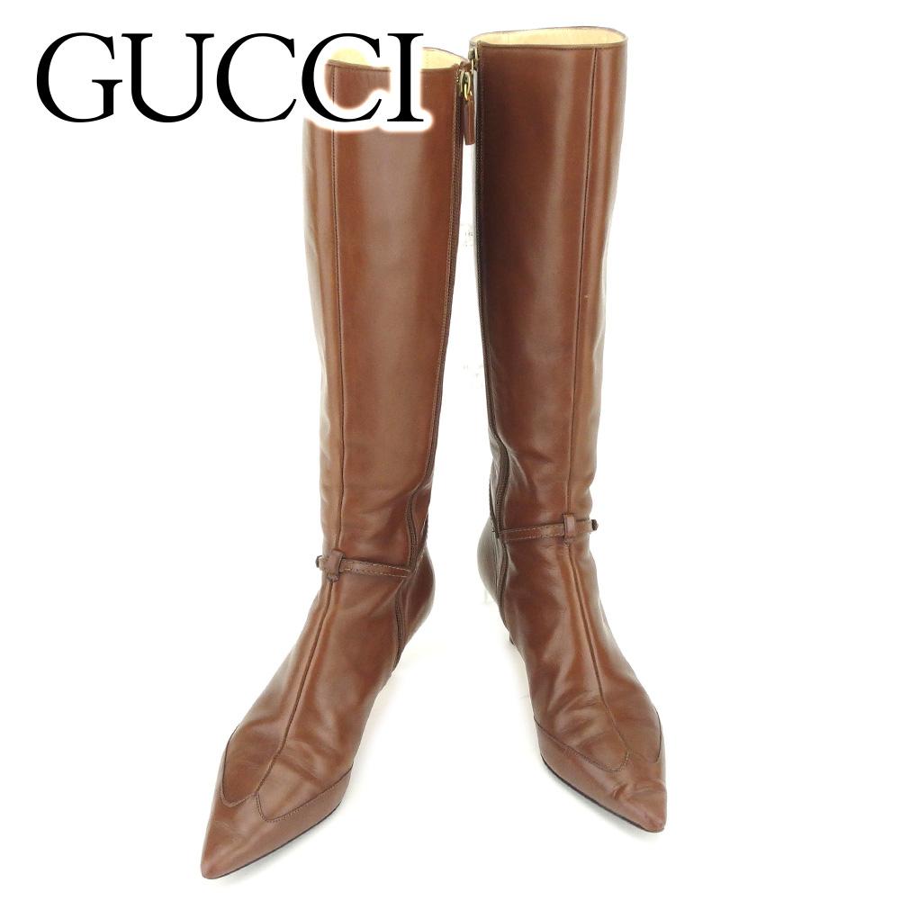 【中古】 グッチ Gucci ブーツ シューズ 靴 レディース # 7ハーフ インターロッキング ブラウン レザー 人気 良品 T7246 .