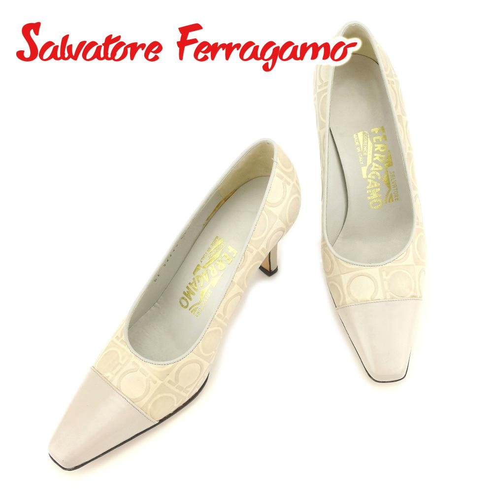 【中古】 サルヴァトーレ フェラガモ Salvatore Ferragamo パンプス シューズ 靴 レディース #4ハーフ ガンチーニ ベージュ レザー 人気 セール T7249