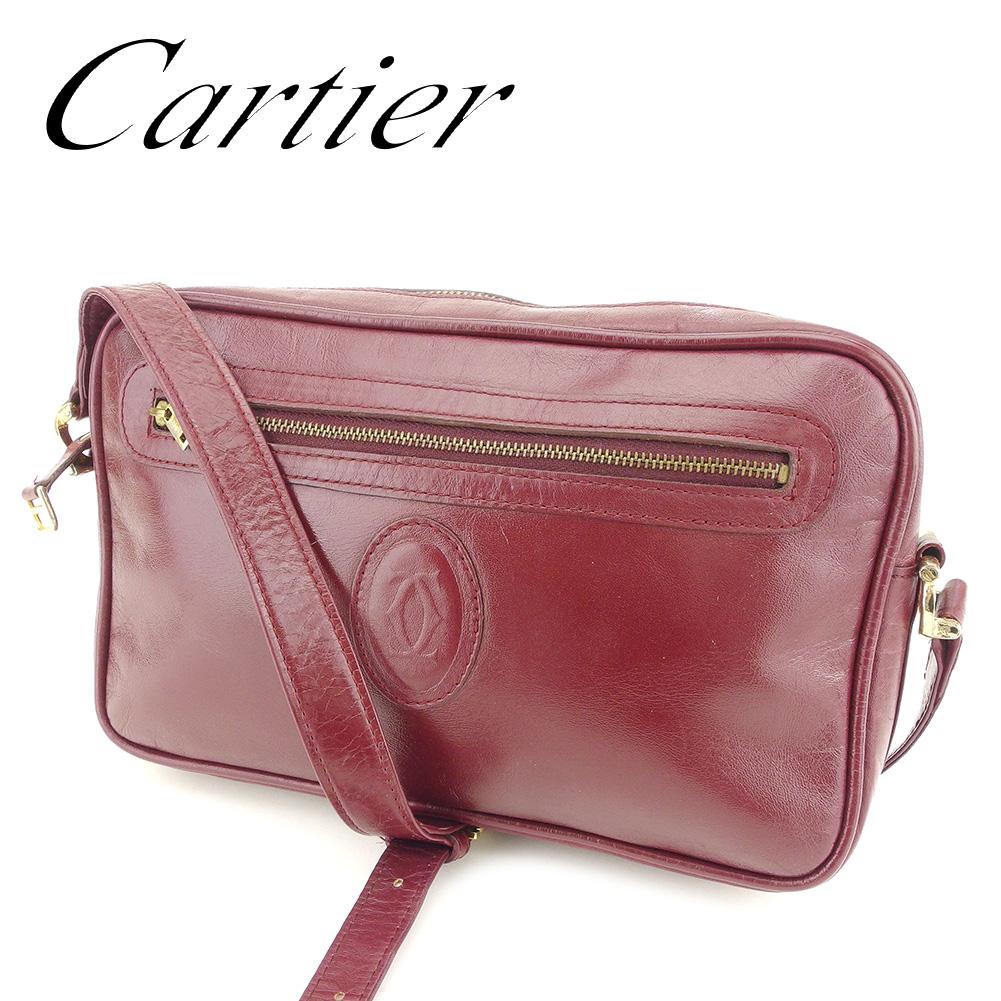 【中古】 カルティエ Cartier ショルダーバッグ ワンショルダー レディース マストライン ボルドー レザーショルダーバッグ T7256s .
