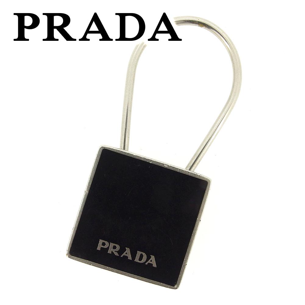 【中古】 プラダ PRADA キーホルダー キーリング レディース メンズ 可 ブラック ブラック シルバー金具 人気 セール T7260