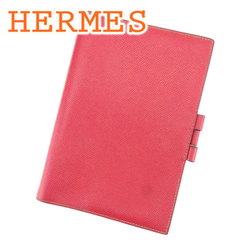【中古】 エルメス HERMES 手帳カバー メンズ可 エプソン レッド グリーン レザー手帳カバー T7282s .