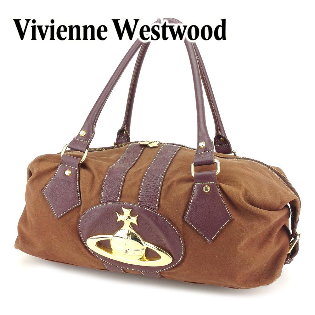 【中古】 ヴィヴィアン ウエストウッド Vivienne Westwood ボストンバッグ ワンショルダー レディース メンズ 可 オーブ ブラウン ゴールド キャンバス×レザーボストンバッグ T7287s .