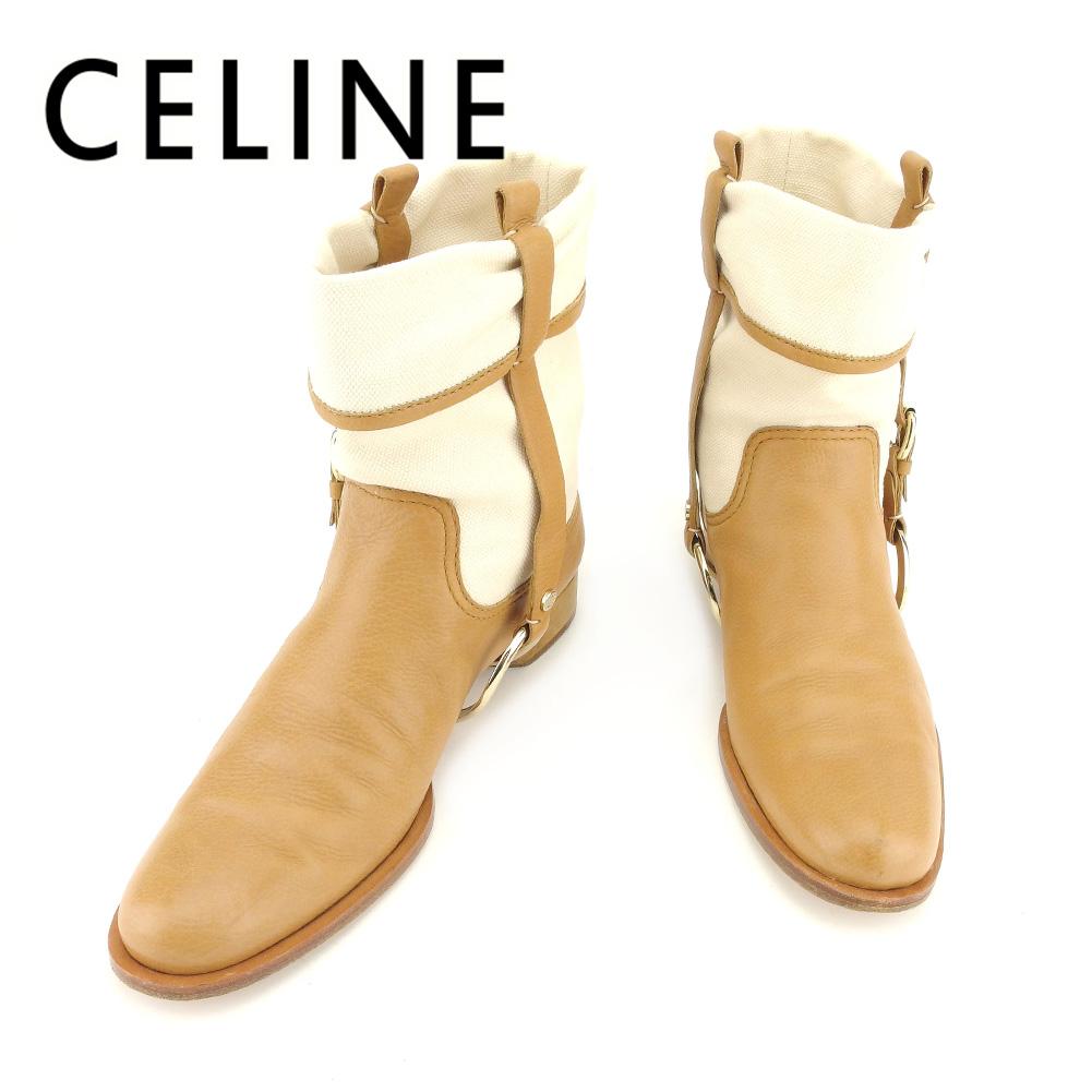 【中古】 セリーヌ CELINE ブーツ シューズ 靴 メンズ可 #38 ベージュ ライトブラウン キャンバス×レザー 人気 セール T7292 .