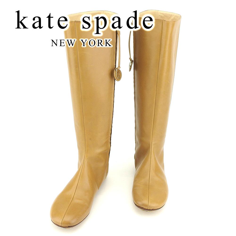【中古】 ケイト スペード kate spade ブーツ シューズ 靴 レディース #6 ベージュ レザー 人気 良品 T7296 .