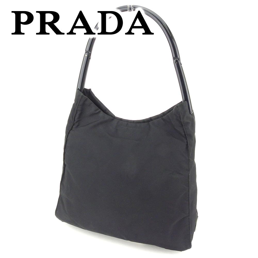 【中古】 プラダ PRADA ショルダーバッグ ワンショルダー レディース  ブラック ナイロン 人気 セール T7298 .