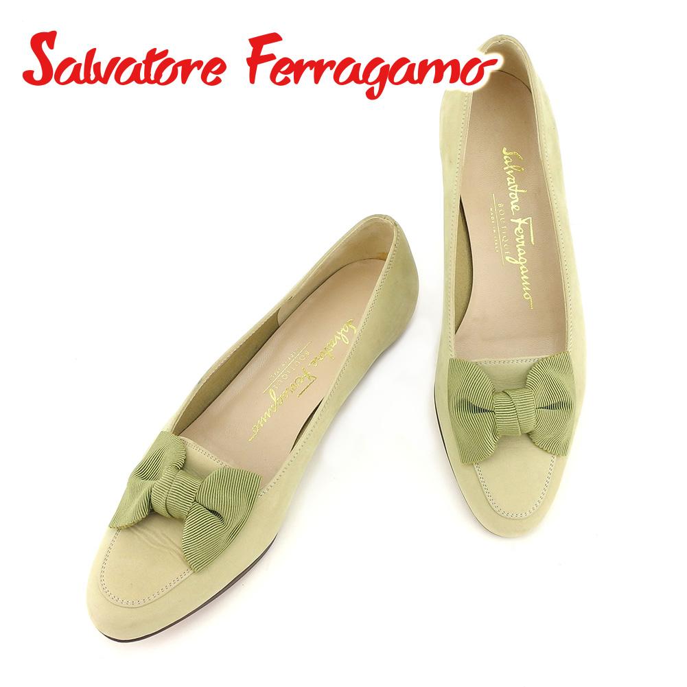 【スーパーSALE】 【20%OFF】 【中古】 サルヴァトーレ フェラガモ Salvatore Ferragamo パンプス シューズ 靴 レディース #5 リボンモチーフ グリーン スエード 人気 セール T7301