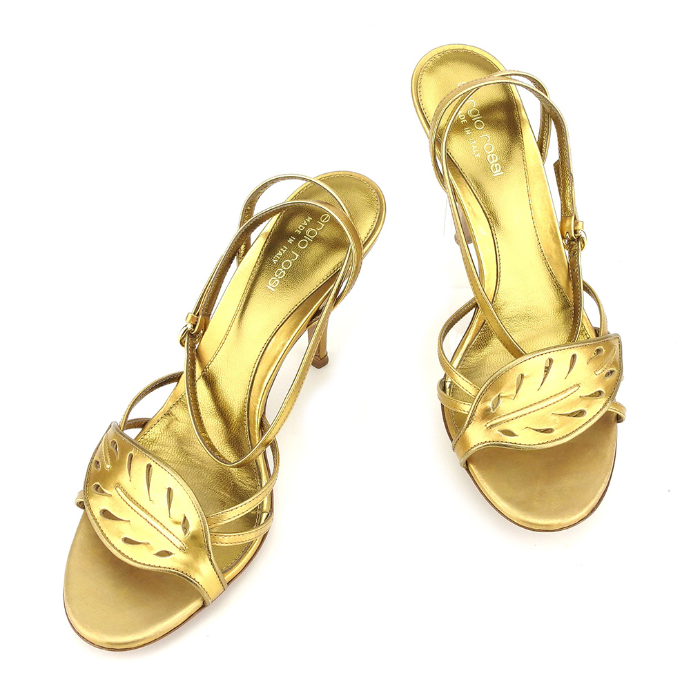 09a6a749370b 【中古】 セルジオロッシ Sergio Rossi サンダル シューズ 靴 メンズ可 #38 ゴールド レザー 人気 T7311 . セール-その他