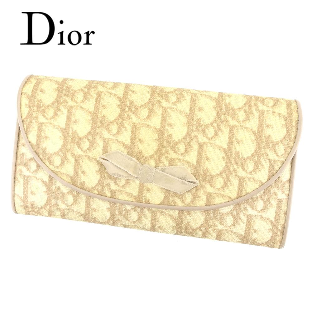 【中古】 ディオール Dior 長財布 ファスナー付き 長財布 レディース トロッター ベージュ PVC×レザー 人気 セール T7315 .