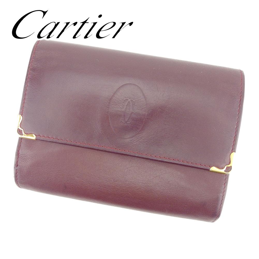 【中古】 カルティエ Cartier がま口 財布 三つ折り 財布 レディース メンズ 可 マストライン ボルドー レザー 人気 セール T7325 .