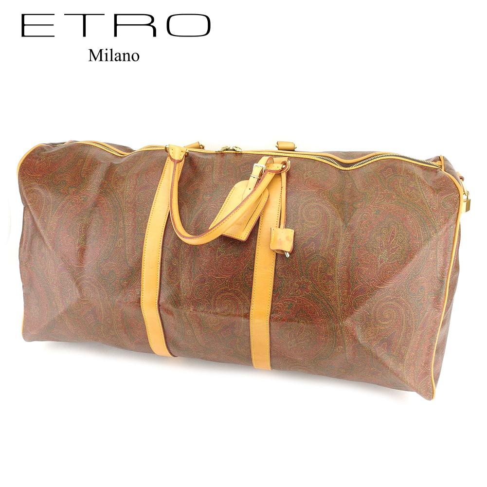 【中古】 エトロ ETRO ボストンバッグ 旅行バッグ レディース メンズ 可 ペイズリー ブラウン PVC×レザー 人気 セール T7332 .