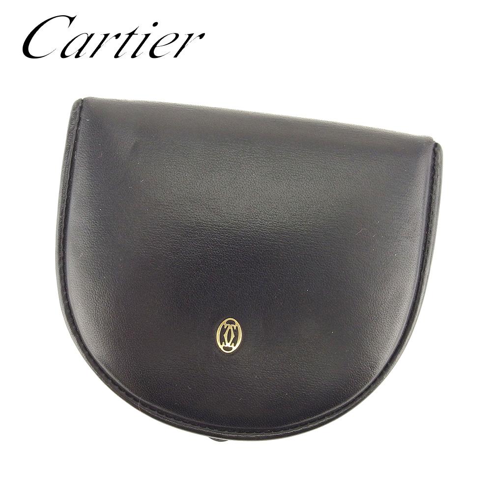 【中古】 カルティエ Cartier コインケース 小銭入れ レディース メンズ 可 パシャ ブラック レザー 人気 セール T7344 .