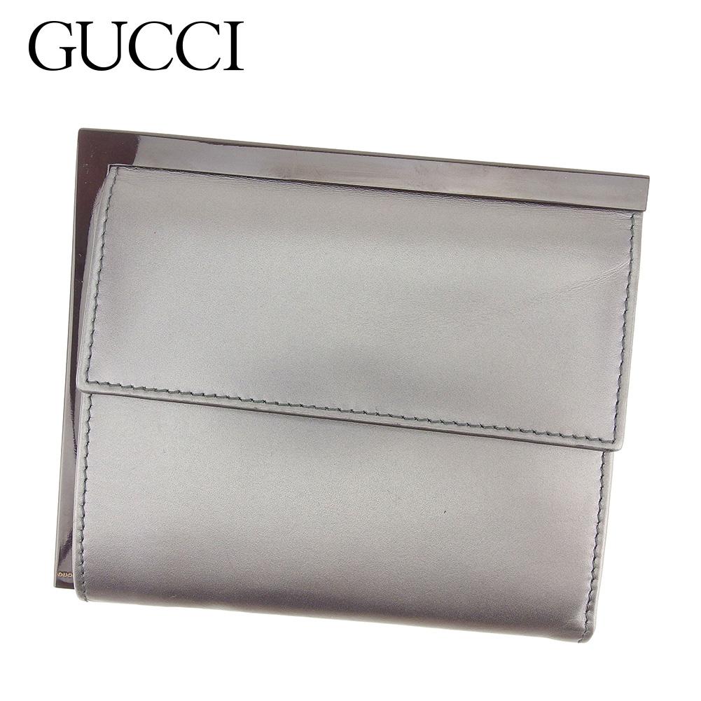 【中古】 グッチ GUCCI 三つ折り 財布 二つ折り 財布 レディース メンズ 可  シルバー レザー 人気 セール T7345 .