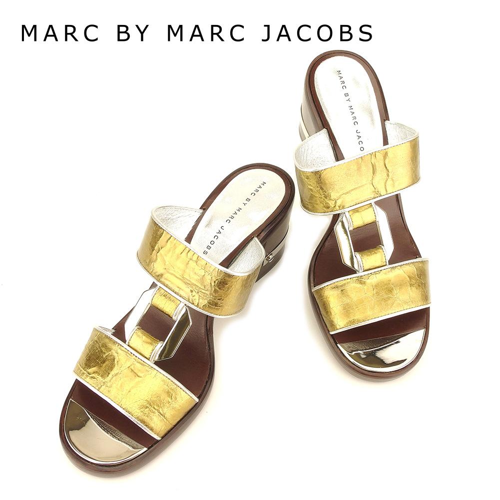 【中古】 マークバイマークジェイコブス MARC BY MARC JACOBS サンダル シューズ 靴 レディース #38 シルバー ゴールド ブラウン レザー 人気 セール T7371 .