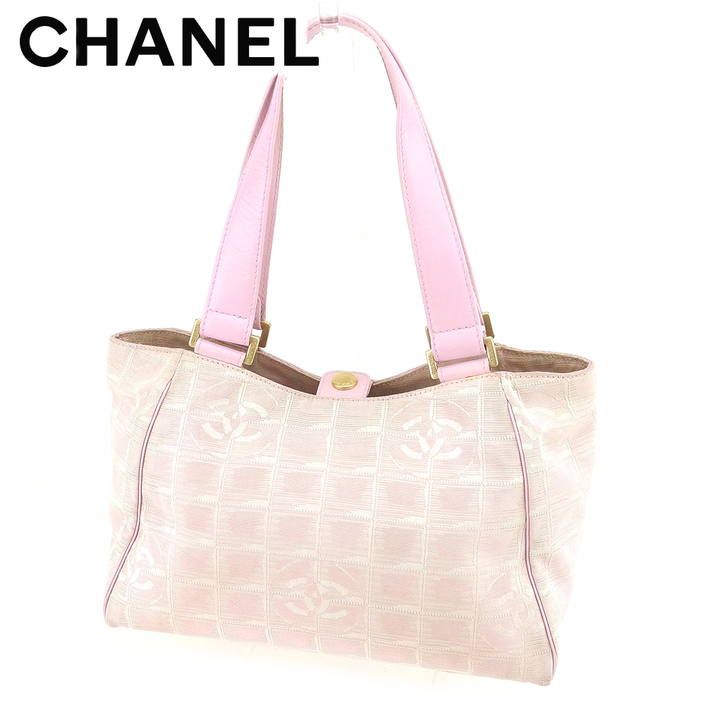 9ef5283caf12 Chanel CHANEL handbag tote bag Lady s current style bell line pink canvas X  leather vintage popularity T7602.