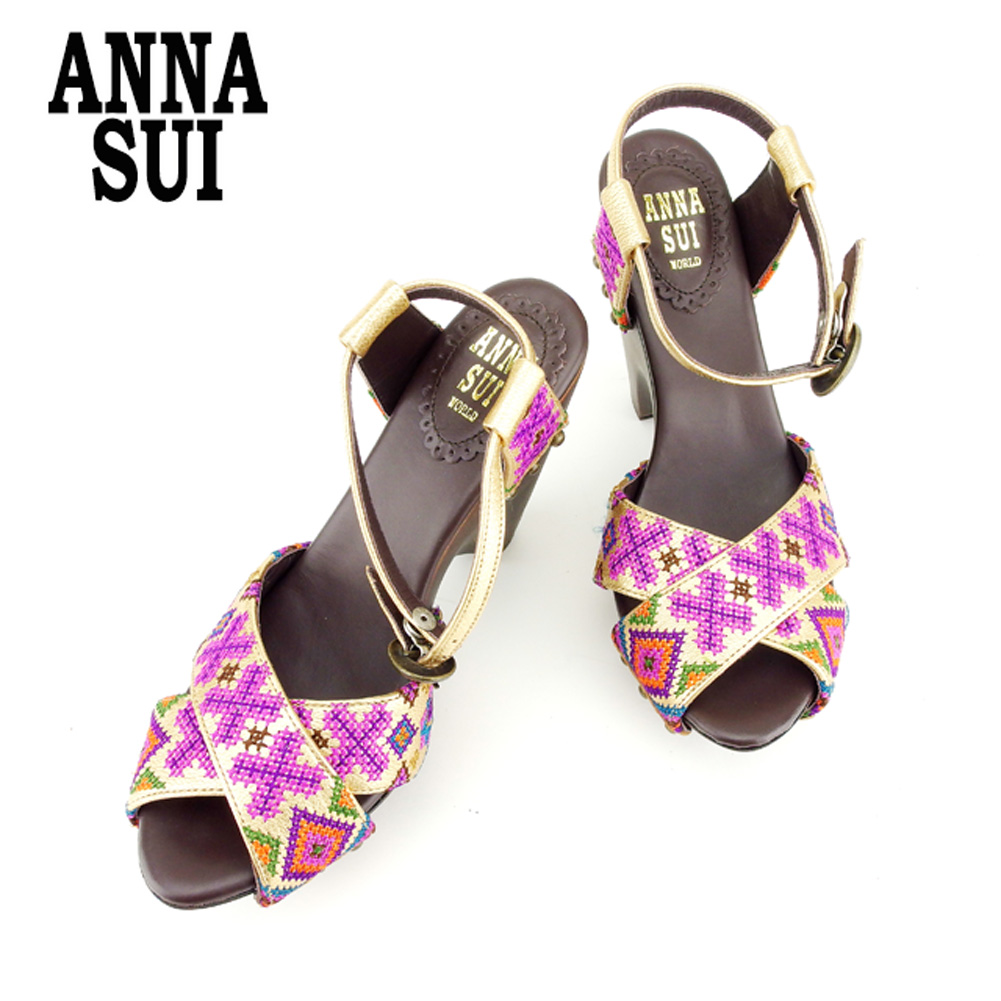 3f53df309129 Anna Sui ANNA SUI sandals shoes shoes men s possible  S embroidery gold  brown leather-free article sale T7640