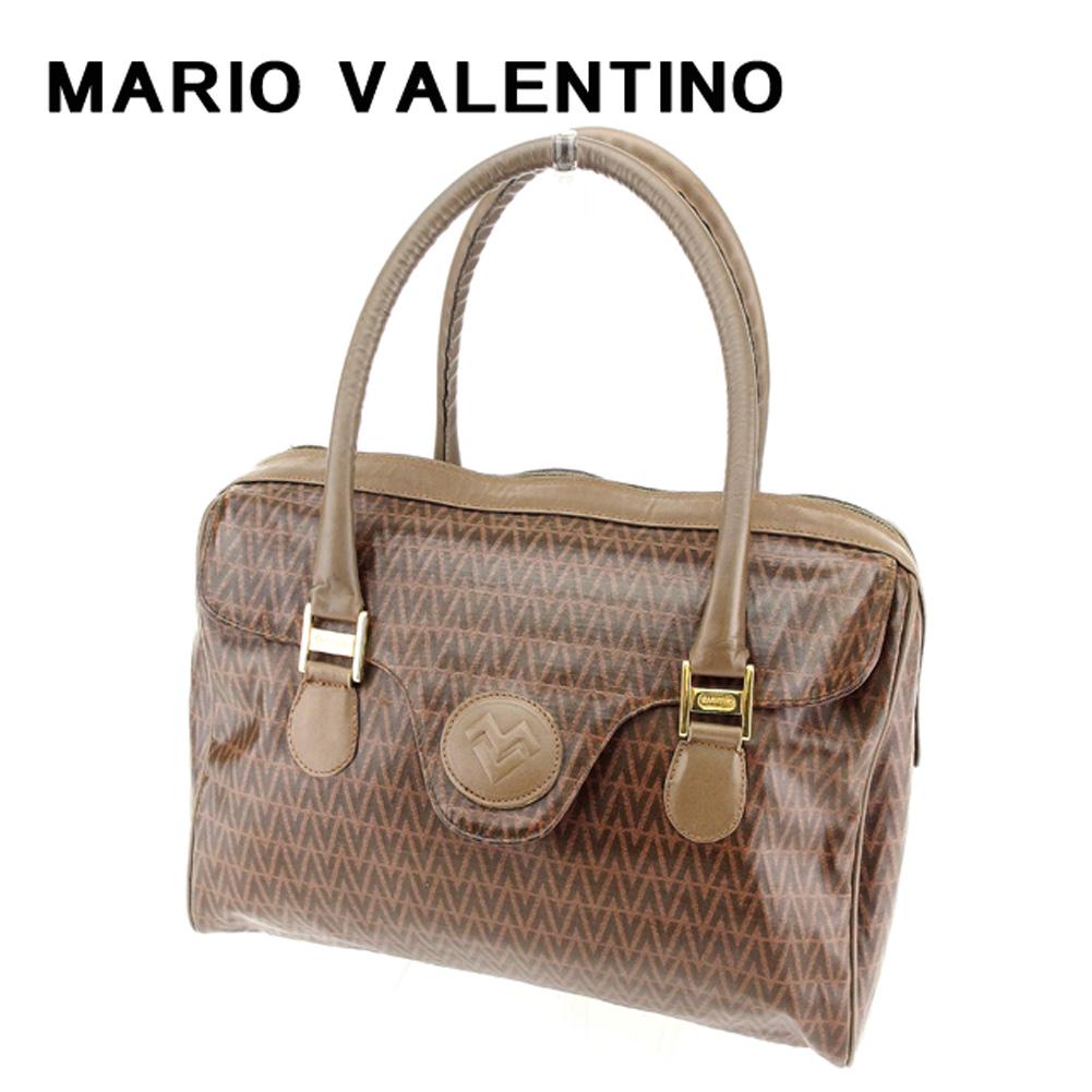 【中古】 マリオ ヴァレンティノ MARIO VALENTINO ボストンバッグ ミニボストンバッグ レディース メンズ 可  ブラウン PVC×レザー 人気 セール T7647 .