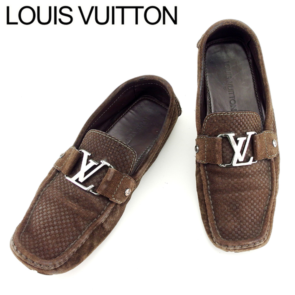 24c6f797dfa7 Louis Vuitton Louis Vuitton loafer shoes shoes men LV  プレートドライビングダミエブラウンシルバースエード popularity sale H577
